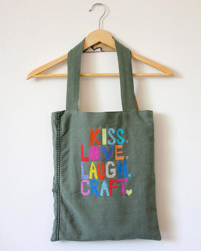 Cross stitch tote bag pattern PDF - Kiss Love Laugh Craft