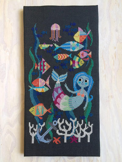 Mermaid Lagoon - modern cross stitch pattern PDF