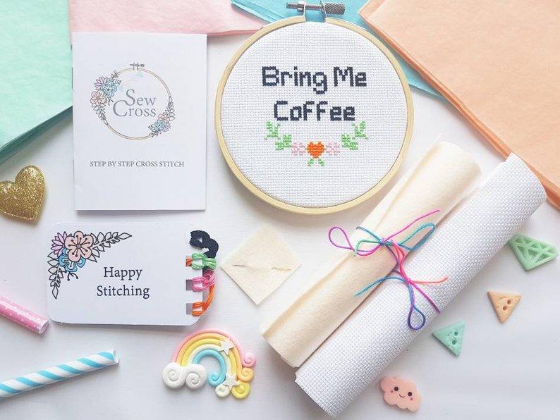 Bring Me Coffee Cross Stitch Kit