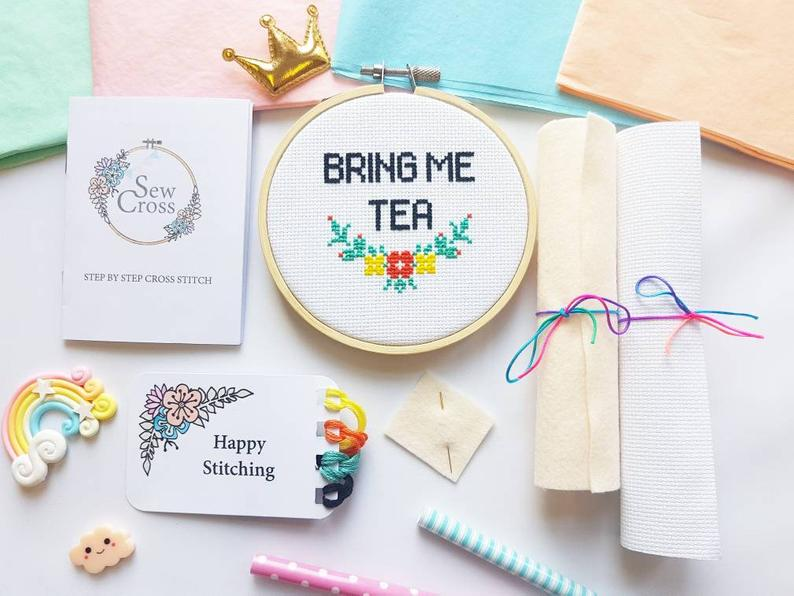 Bring Me Tea Cross Stitch Kit