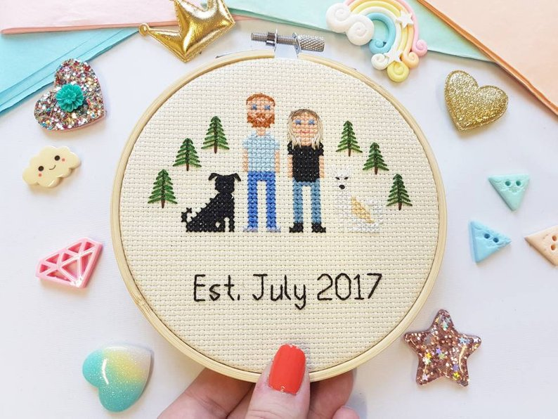 Custom Cross Stitch Family - Personalised Wedding Gift