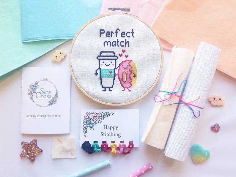 Kawaii Cross Stitch Kit - Coffee & Donut - Food Cross Stitch - Perfect Match