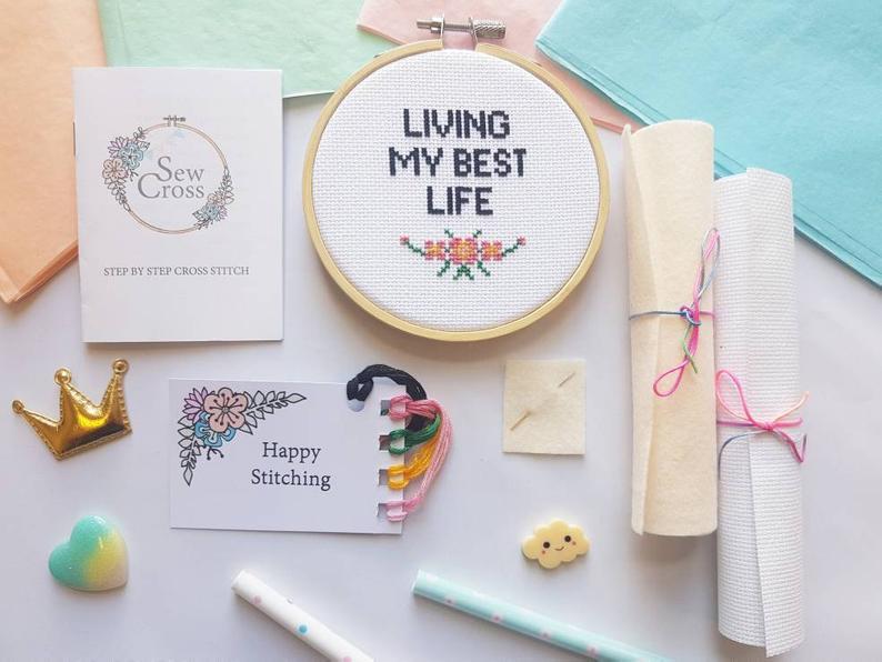 Living My Best Life Cross Stitch Kit
