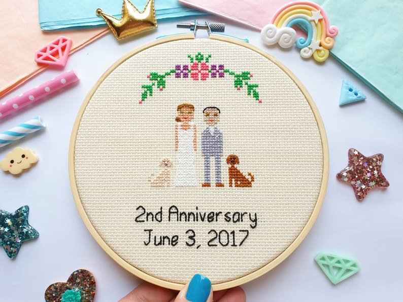 Personalised Cross Stitch Family - Custom Cross Stitch Wedding Gift