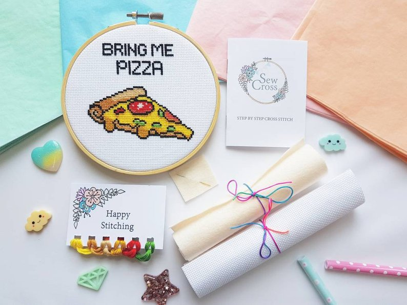 Pizza Cross Stitch Kit - Bring Me Pizza