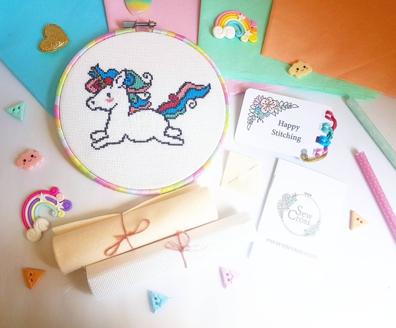 Rainbow Unicorn - Modern Cross Stitch