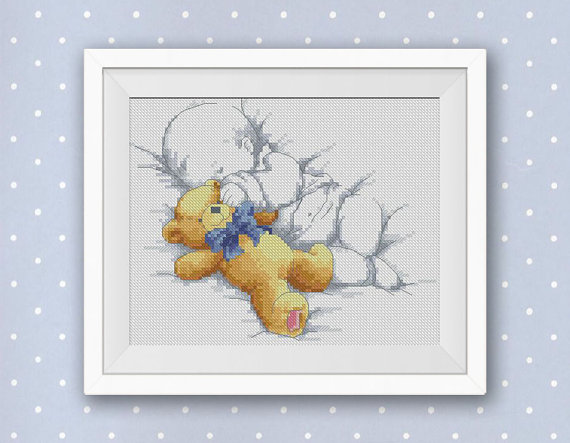 BOGO FREE! Sleeping Baby with Teddy Bear Cross Stitch Pattern, Needlecraft Wall Home Simple Decor PDF Instant Download #024