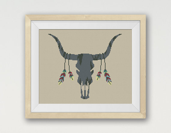 Bull Aztec, Cross Stitch Pattern