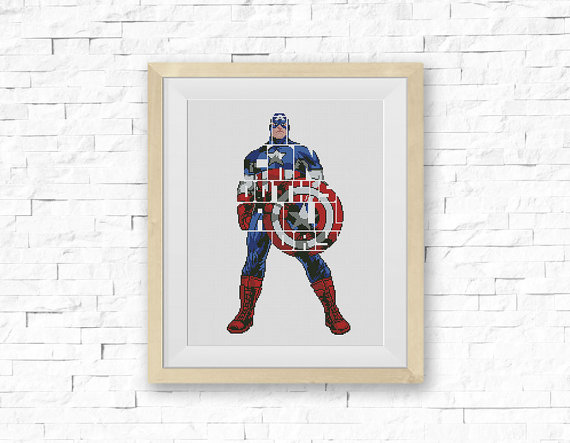 Captain America Cross Stitch Pattern
