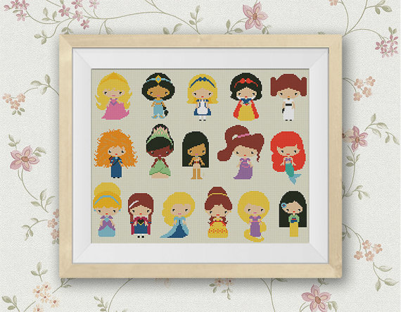 Disney Mini Princesses Cross Stitch Pattern