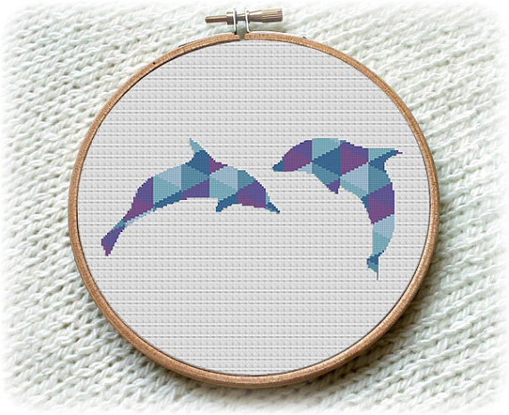 Dolphin, Cross Stitch Pattern, Nature Ocean Animals