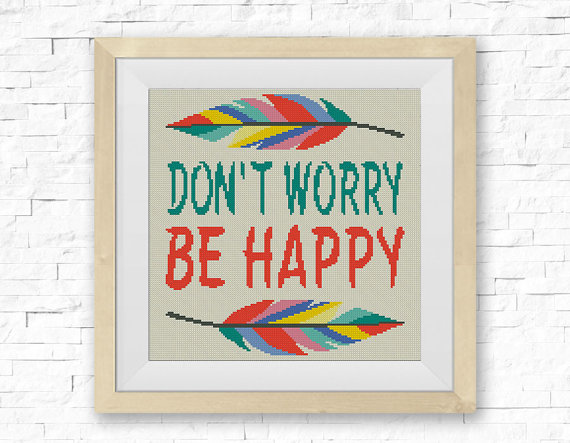 Dont Worry Quote Cross Stitch Pattern