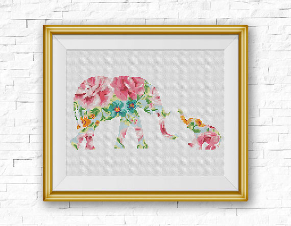 Elephant Cross Stitch Pattern, Baby Elephant Flowers Counted Cross Stitch