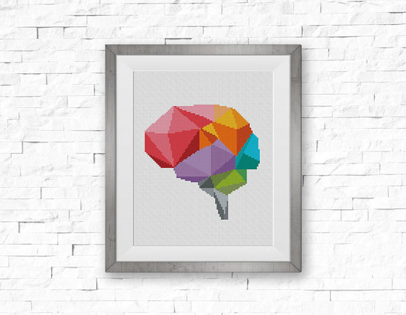 Geometric Brain Cross Stitch Pattern