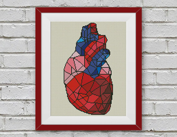 Geometric Heart Cross Stitch Pattern
