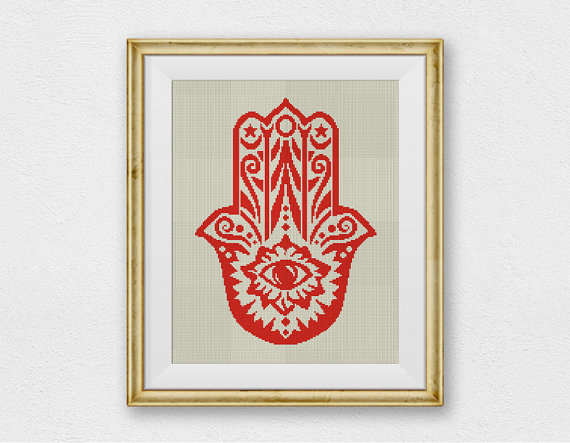 Hamsa Hand, Amulet Cross Stitch Pattern