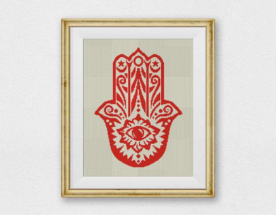 Hamsa Hand, Amulet Cross Stitch Pattern