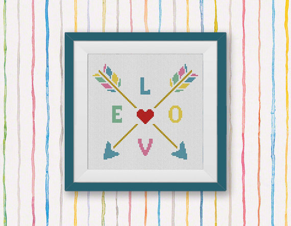 Heart Love Arrows Counted Cross Stitch Pattern