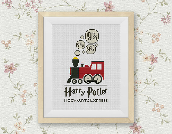 Hogwarts Express Cross Stitch Pattern, Platform 9 3/4