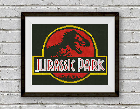 Jurassic Park Cross Stitch Pattern, Logo Cross Stitch Pattern