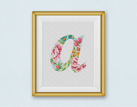 "Letter ""A"" Silhouette Flowers Counted Cross Stitch Chart"