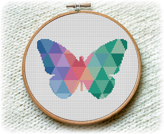 Mosaic Butterfly, Geometric Meadow Insects Wall Home Modern Decor