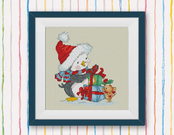 Santa Penguin Cross Stitch Pattern