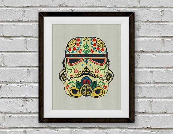 Stormtrooper Cross Stitch Pattern, Stormtrooper Sugar Skull Chart