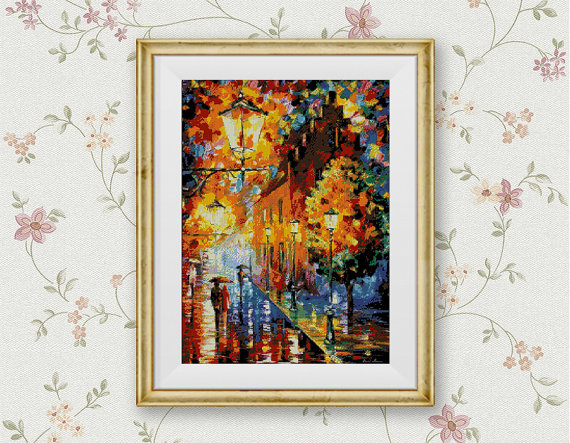 Street Lantern Gold Autumn Rain Counted Cross Stitch Pattern Wall Home