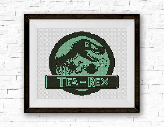 Tea Rex Cross Stitch Pattern Dinosaur