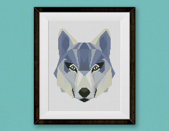 Wild Wolf Cross Stitch Pattern, Mountain Forest Woodland Animals