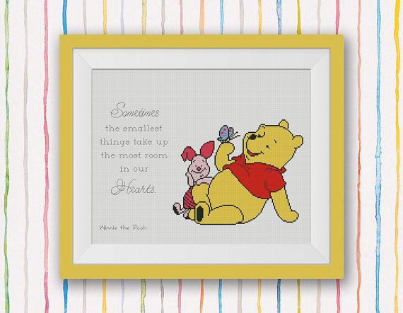 Winnie the Pooh Cross Stitch Pattern, Pooh Quote - Sometimes the smallest things...
