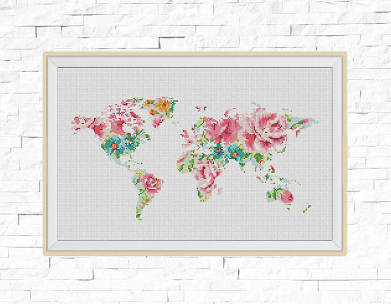 World Map Silhouette Flowers Counted Cross Stitch Pattern