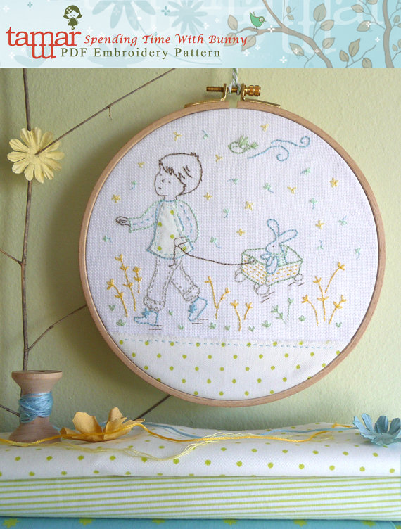 Boy and Bunny - Embroidery pattern