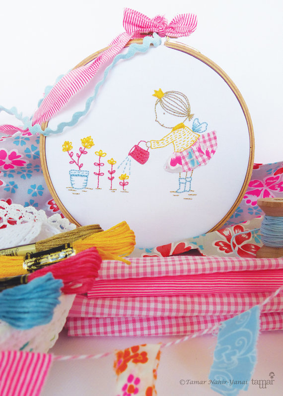 Embroidery Kit, Hand embroidery - Happy little fairy