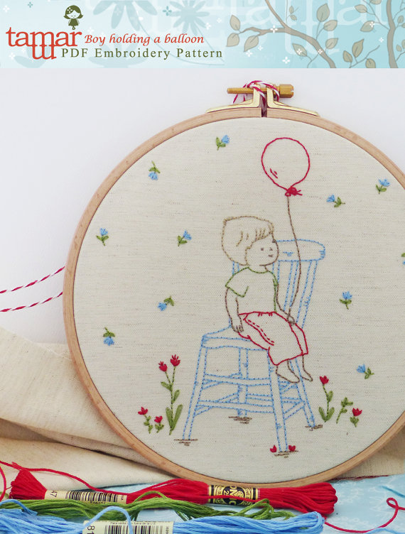 Embroidery Pattern - Boy holding a balloon