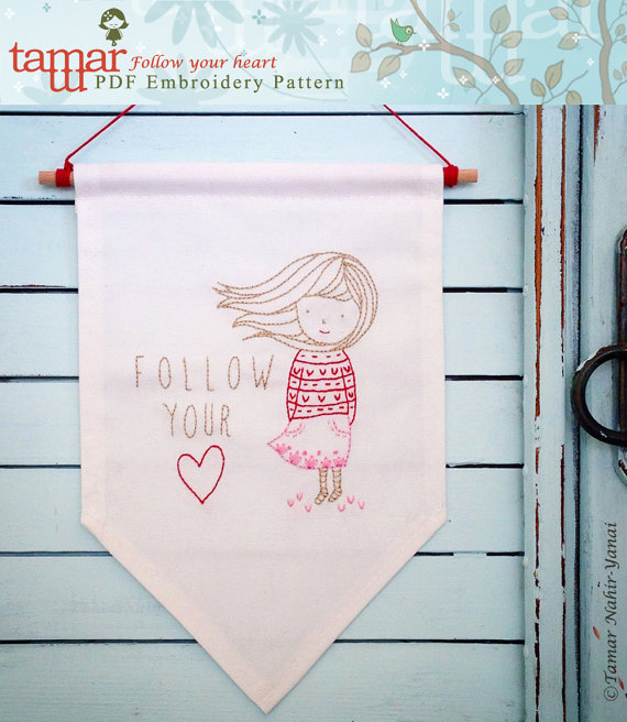 Follow your heart - Embroidery pattern