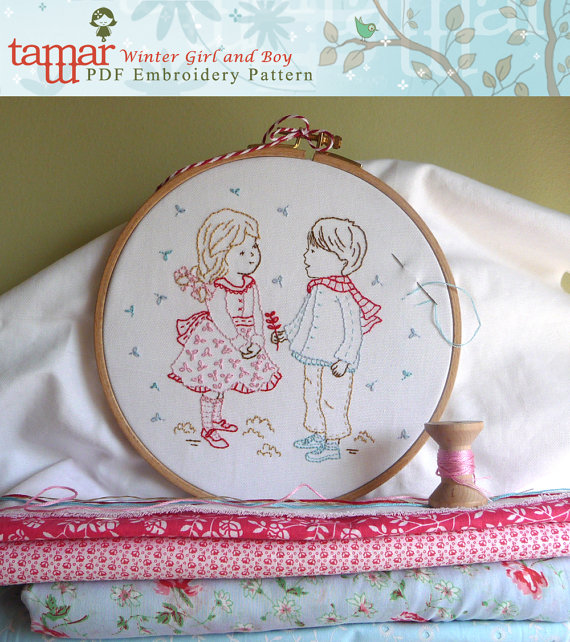 Winter Girl and Boy - Embroidery Pattern