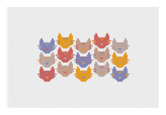 Geometric Cat Cross stitch pattern
