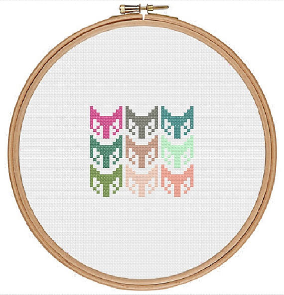 Simple fox pattern cross stitch pattern