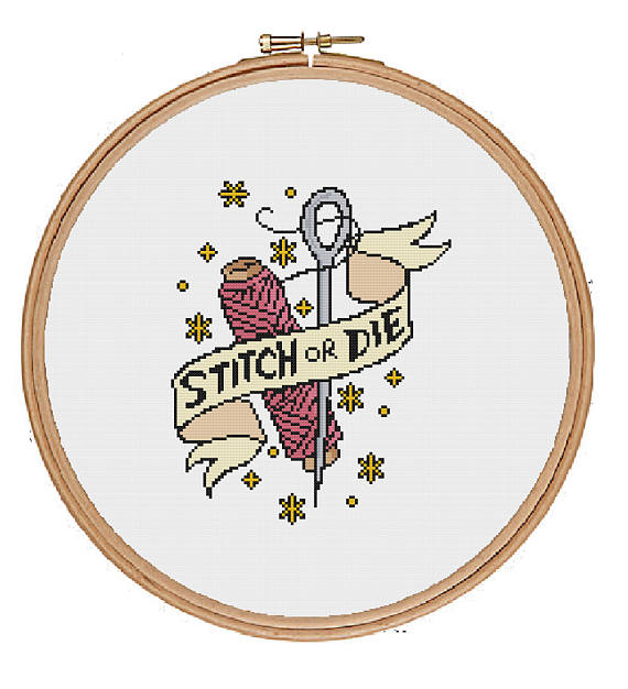 Tattoo sewing cross-stitch pattern. Stitch Or Die