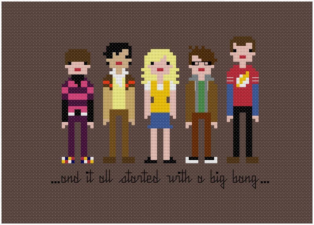 Big Bang Theory Pixel People Crossstitch